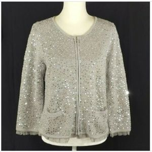 Chico's Full Zip Cardigan Sequins Size 1 Medium